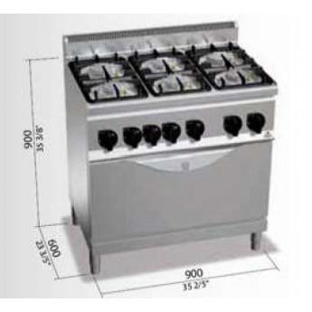 Cocina industrial bertos g6f6pw t cocinas industriales for Cocina 6 quemadores