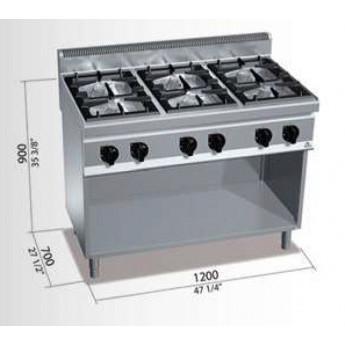 Cocina industrial bertos g7f6m cocinas industriales for Cocina 6 quemadores