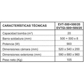 Envasadora al vacío profesional Irimar EVT-500+500/20