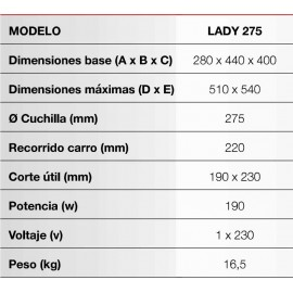 CORTADORA DE FIAMBRES ROMAGSA, LADY 275