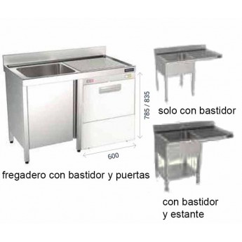 FREGADERO FONDO 550 BASTIDOR, PUERTAS BATIENTES Y ESPACIO PARA LAVAVAJILLAS