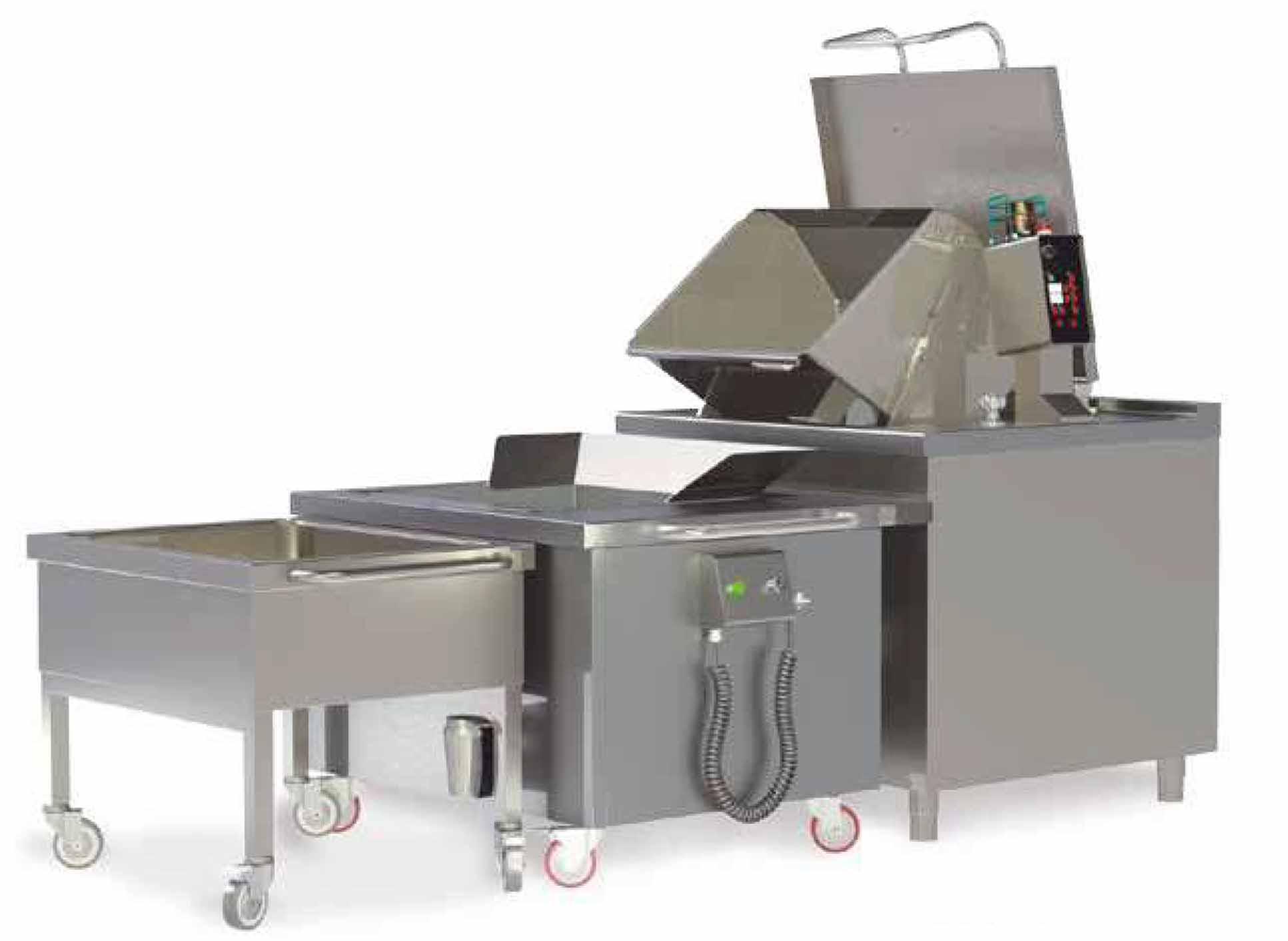 Cocinar y enfriar, en 3 fases: 1.cocción: El alimento queda cocinado en 8-10 minutos. Posteriormente la cesta se eleva automáticamente para escurrir. 2.enfriamiento: Puede ser conectada a agua corriente, agua refrigerada o agua con hielo. El enfriamiento unos 2-3 minutos y el alimento alcanza una temperatura máxima de 3ºC sobre la temperatura del agua. 3. Carro de almacenamiento Una vez enfriado el alimento, puede ser llevado a almacenar o porcionarlo en bandejas GN. Ya disponible en la tienda on line de EquipoH